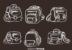 Schooltas Krijt Getekende Pictogrammen