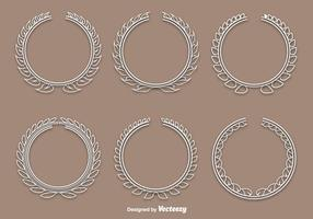 Linear white wreath vectors