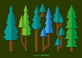 Vetores de pinho verde plano