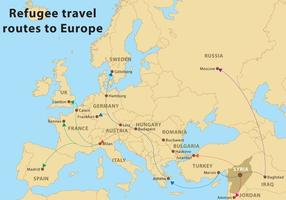Vector Refugee Routes To Europe