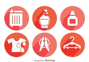 Laundry Long Shadow Icons vector
