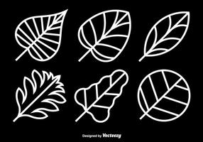 White leaves icons vector