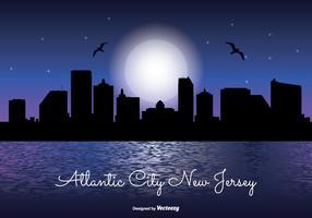 Atlántico, ciudad, noche, horizonte