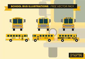 Skolbuss Illustrationer Gratis Vector Pack