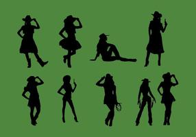 Cowgirl silhouet vector set