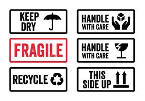 Handle with Care Stickers in Vector