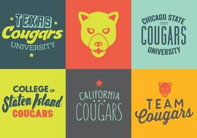 Vector Set of Cougar Logos e Etiquetas
