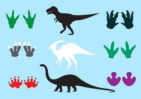 Huellas de dinosaurios en vector