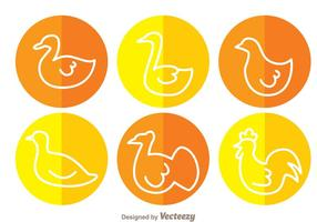 Fowl White Outline Circle Icons vector