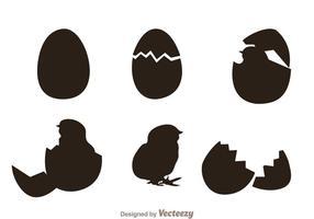 Chick silueta vectores
