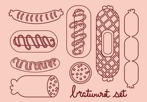 Bratwurst and Sausage Line Icon Set vector