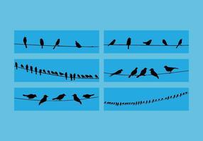 Vogels Op Draad Vector Set