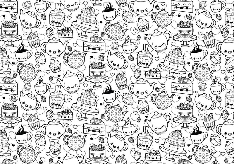 Tea Party Coloring Page   Download Free Vector Art, Stock Graphics U0026 Images