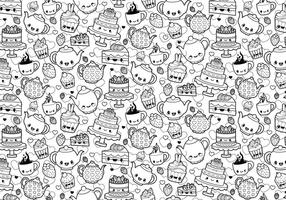 Tea Party Coloring Page vector