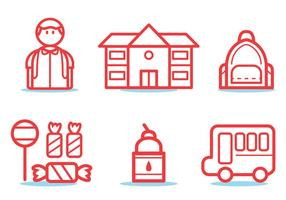 Schoolbus pictogram set