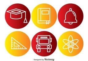 Ícones do círculo do elemento escolar