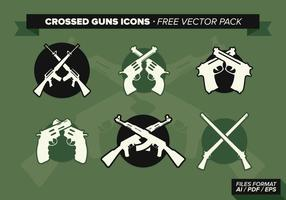 Crossed Guns Icons Free Vector Pack