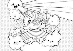 Rainbow Unicorn Scene Coloring Page