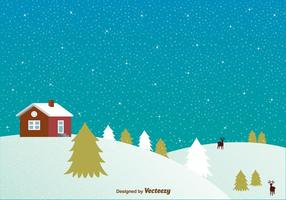 Snowy night with house background vector