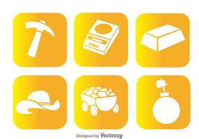 Gold Mine White Icons vector