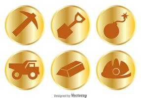 Gold Mine Items Icons vector