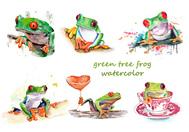 Árbol verde rana acuarela