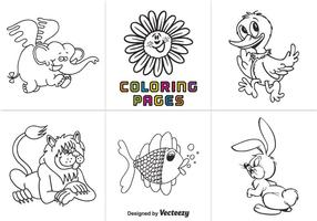 Free Animal Coloring Seiten Vektor