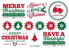 Conjunto de etiquetas do Natal