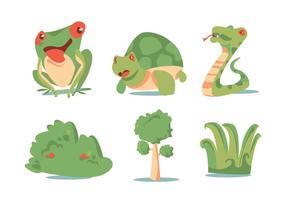 Conjunto de vector de plantas verdes y animales