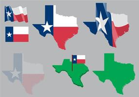 Mapa e bandeira do mapa de Texas