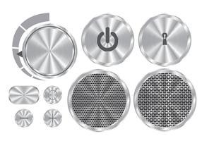 Botones de aluminio cepillado del vector