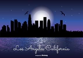 Los angeles night skyline illustration
