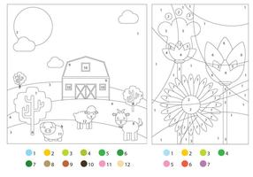 Coloring Pages With Color Guides vector