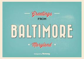 Retro Baltimore Maryland hälsning illustration