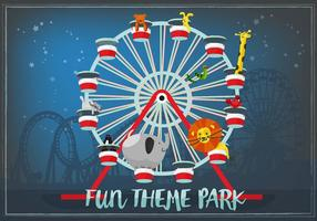 Cute-hand-drawn-zoo-animals-in-ferris-wheel-vector-background