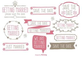 Cute Hand Drawn Style Save the Date et Ensemble d'étiquettes de mariage
