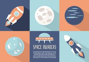 Free Flat Space Landscape Vector Background