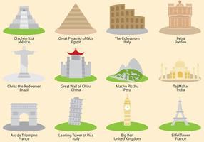 Wonderen Van De Wereld Vector Pictogrammen