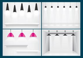 Hanging Lights And Shelves vector