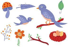 Vectores libres de los pájaros del bosque