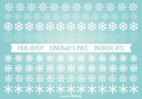 Set de frontera de copo de nieve de vacaciones