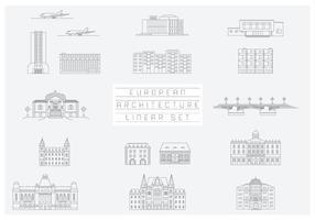 Colección de vector libre de iconos lineales y las ilustraciones con edificios