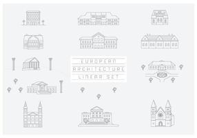Gratis vektorsamling av linjära ikoner och illustrationer med byggnader