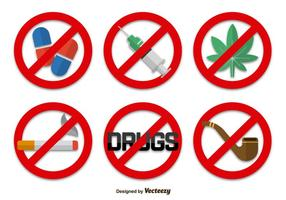 No drugs signs icons vector