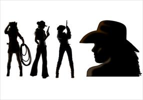 Cowgirl silhouette vecteurs