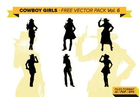 Cowboy Girls Silhouette Free Vector Pack Vol. 6