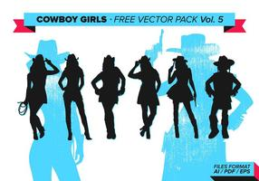 Cowboy Girls Silhouette Gratis Vector Pack Vol. 5
