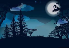 Vector de la noche de la luna