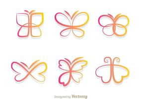 Butterfly Gradient Icons vector