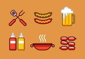 Vector Bratwurst Illustratie Set
